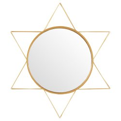 Rivet Modern 3-D Star Shaped Metal Mirror Home Decor, Gold Finish