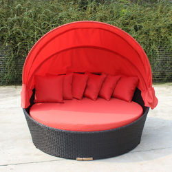 Outdoor Garden Patio Rattan Furniture Folded Lying Chairs Wicker Beach Bed Sunbed Daybed
