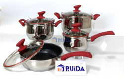 10 Pieces Stainless Steel Cookware with Colored Handles