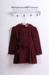 Girls' Woollen Coat Children Clothes with Detachable Shawl
