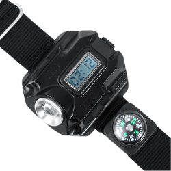 Infrared Compass LED Display Rechargeable Wrist Watch Flashlight Torch Light