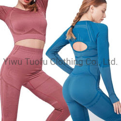 Ladies Seamless Sports 2 Pieces Sets Gym Wear Yoga Wear Running and Cycling Sport Clothes