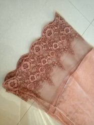 Spring/Autumn Piece Dye Woven Long Scarf with Embroidery Lace