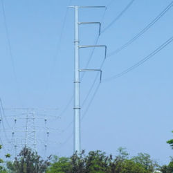 0.4kv-500kv Power Transmission Galvanized Steel Metal Tube Mono Pole