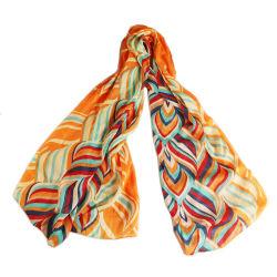 Womens Spring Chiffon Stripe Printing Shawls Sunscreen Wrap Cape Scarf (SW118)