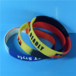 """Customized 1/2"""" New Design High Quality Segmented Color Debossed Color Filled Silicone Bracelets with Free Samples"""