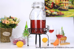 3.5L Portable Glass Beverage Drink Dispenser with Airtight Glass Lid and Tap