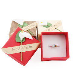 Wholesale Paper Letter Ring Box Storage Case with Flower Mixed Color Fashion Jewelry Box
