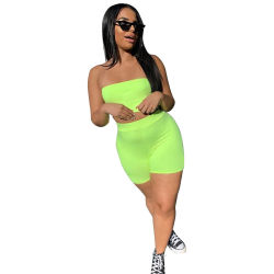 L28990 Casual Solid Color Strapless Crop Top Sports Short Set