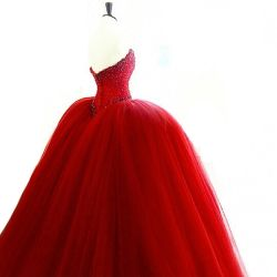 31b0e51f3cfdb Crystal Bridal Ball Gowns Red White Pink Tulle Puffy Real Wedding Dress  Rr9009