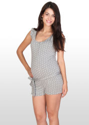 Grey and White Spot Print Playsuit