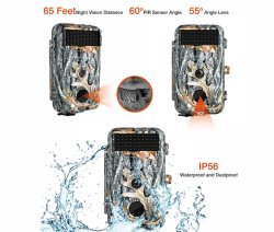 16MP 720p Game Trail Wildlife Deer Camera with 40PCS IR LEDs Night Vision
