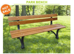 Real Wood Park Bench with Cast Iron for Outdoor Furniture Jm-Pb102A 150cm Pine Wood