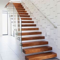 Invisible Stringer Wooden Floating Staircase, Tempered Glass Panel Floating  Stair With Glass Railing