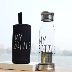 Custom Logo Unbreakable Water Bottle 550ml Knight Glass Water Bottle Sport Bottle Gift Items BPA Free with Stainless Steel Lid