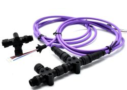 Nmea2000 Power Tap M12 Male to Female a Coding 3pin T Adapter Cable with Plastic Locking Screw Connector