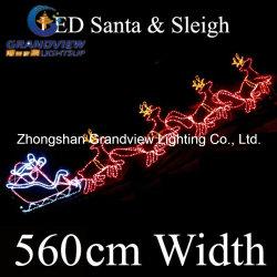 560cm led santa riding 4 reindeer sleigh christmas motif rope lights