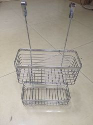 Iron Wire Dual-Tier Kitchen Basket, Over The Cabinet Basket
