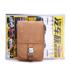 Wholesale Price Mini Size Camel Color Leather Sport Cell Phone Waist Belt Bag