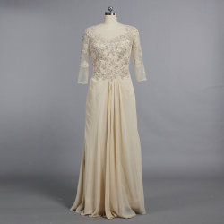 a46ce85dbc3 E600 Boat Neck Half Sleeve Mother of The Bride Dresses Long Champagne Gown