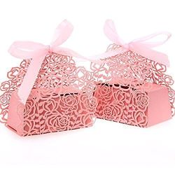 Manufacture Laser Cut Pearl Paper Party 2 In1 Rose Flower Wedding Favor Ribbon Candy Boxes Gift