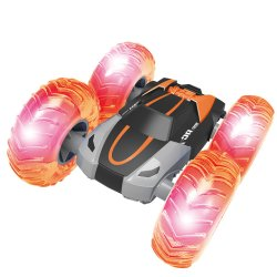 Jumping Car with Inflatable Wheel and LED Light 2.4G High Stunt Car Cyclone RC with Big Inflatable Wheels with Battery Power Wheels Toy Car Flip RC Cyclone