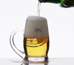Handmade Man Blow Beer Glass Cup with Handle