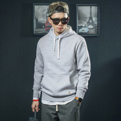 Black Cotton and Polyester Mixture Mens Hooded Sweatshirt, Pullover Sport Hoody