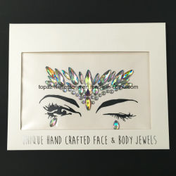Easter Gift New Fashion Iridescent Crystal Ab Diamond Face Gem Stickers (J15)