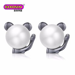2018 New Design Fashion Lovely 925 Sterling Silver Cat Pearl Earring Studs