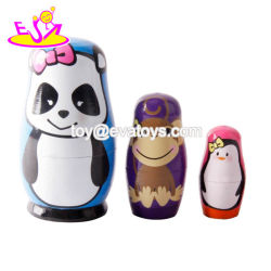 New Design 6 PCS Children Wooden Nesting Dolls with Handmade W06D085