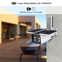 Solar Power Security Camera with LG Rechargeable Battery HD 1080P Waterproof PIR Sensor Motion Detection Night Vision Two-Way Audio 4G Lte