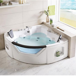 Indoor Two Persons Corner Hot Tub SPA Bathtub Acrylic Massage Whirlpool  Jacuzzi