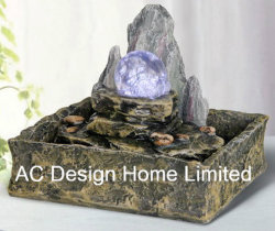 Hill Rock Finish Polyresin Indoor Home Decor Table Top Water Fountain W Led Light