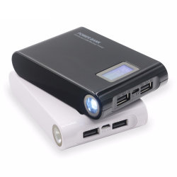 External Portable Rechargeable Power Bank 12000mAh LCD Screen LED Light