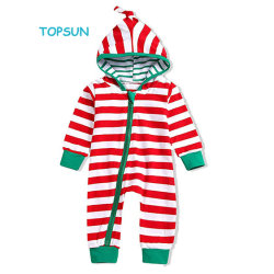 cc4ea3294 Baby Boy Girls Christmas Outfit Family Pajamas Long Sleeve Striped Zipper  Hooded Romper Jumpsuit Infant Clothes