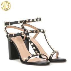 e067695f0 Women Gladiator Sandals Genuine Leather Square Heel Buckle Peep Toe Black Rivet  Lady Shoes