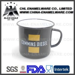 Rolled Rim Custom Logo Printing Tea Coffee Enamel Mug, Stainless Steel Rim Cast Iron Milk Camping Enamel Mug; Metal Carbon Steel Falcon Enamel Cup, Enamelware