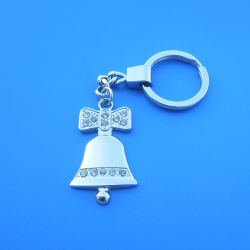 Silver Metal Custom Bell Shaped with Red Ribbon