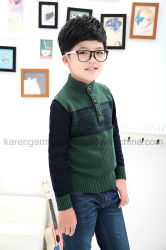 Stock Horn Buttons Turtleneck Contrast Colour Knitted Green Sweater