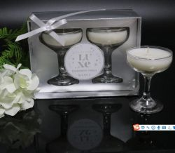 New Luxury Scented Candle in Crystal Glass Goblet Cup Set of Two with Silver Gift Window Box Packing