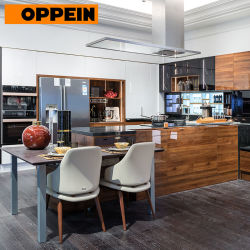 Oppein 2018 New Design Modern Wood Grain Uv Lacquer Kitchen Cabinets Plcc18067