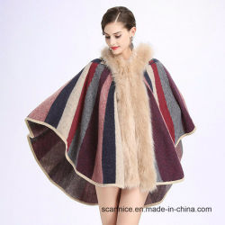 d3490466901 Autumn Winter New Fashion Women Striped Knitted Cardigan Sweater Fake Fox  Fur Cashmere Shawl Wrap Cape