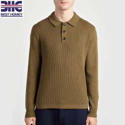 c02e81424 Men s Pure Cashmere Knitted Polo Neck Shirt Pullover Sweater