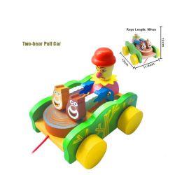 3D Wooden Baby Educational Walk Toy Animal Cartoon Drag Along Toy Car