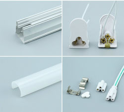 T5 Integrated Tube Light Component Housing Aluminum Fixture Milky or Transparent Clear PC Cover Diffusion with End Cap for LED Lighting