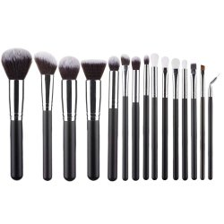 15 PCS Makeup Brush Set Premium Synthetic for Cosmetic Foundation Blending Blush Powder Blush Concealers Eye Shadows Durable