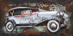 Oil Painting 3 D Metal Wall Decor for Sports Car
