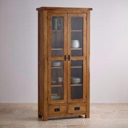 Rustic Vintage Oak Solid Wood Glass Front Display Cabinet