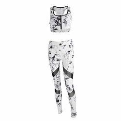Women Yoga Fitness Bra+Pants Leggings Set Gym Workout Sports Activewear for Women